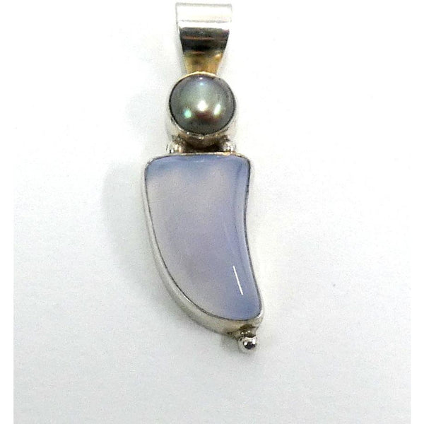 Chalcedony & Grey Pearl in Sterling Silver