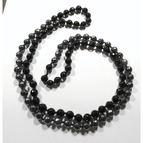Faceted Hematite & Onyx 36 inch Necklace