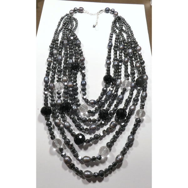 Multi Strand Hematite, Onyx, Pearl and Crystal Necklace