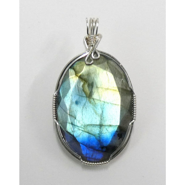 Faceted Labradorite set in Sterling Silver Wire