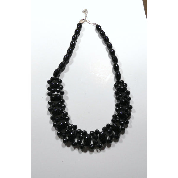 Black Onyx Woven Collar Style 16 inch necklace