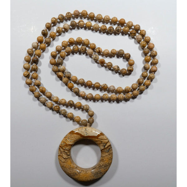Picture Jasper 36 inch Necklace with focal donut