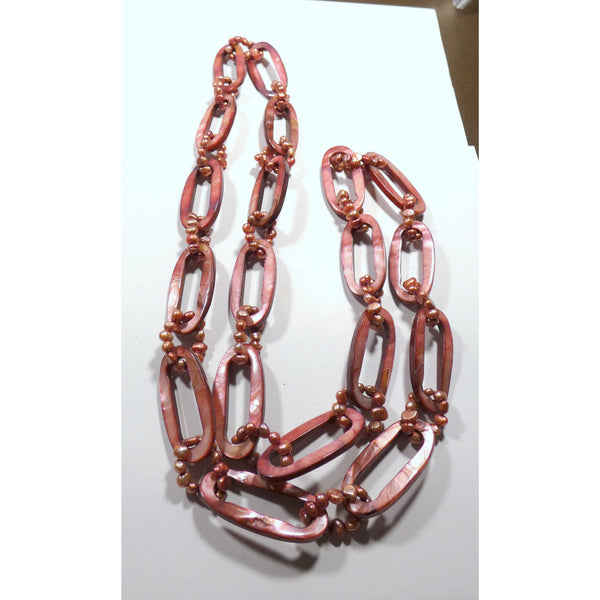 Pink Mother of Pearl 34 inch Link Necklace