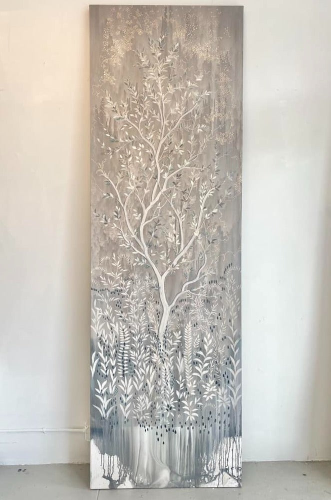 """Allegria"" 9' 5"" x 3' decorative painting in acrylic on canvas"