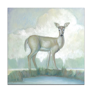 "As a Deer - 12"" x 12"" x 1"" 1/2"" fine art reproduction on canvas, hand embellished"
