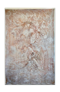 "Emile 2 - 58"" x 84"" A fine print on cotton cloth, hand embellished gold bits"