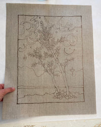 "A LA CARTE 20"" x 16"" fine art outline print on raw Belgian linen canvas"