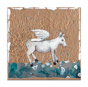 "Flying Donkey - 8"" x 8"" x 1"" 1/2"" fine art reproduction on canvas, hand embellished"