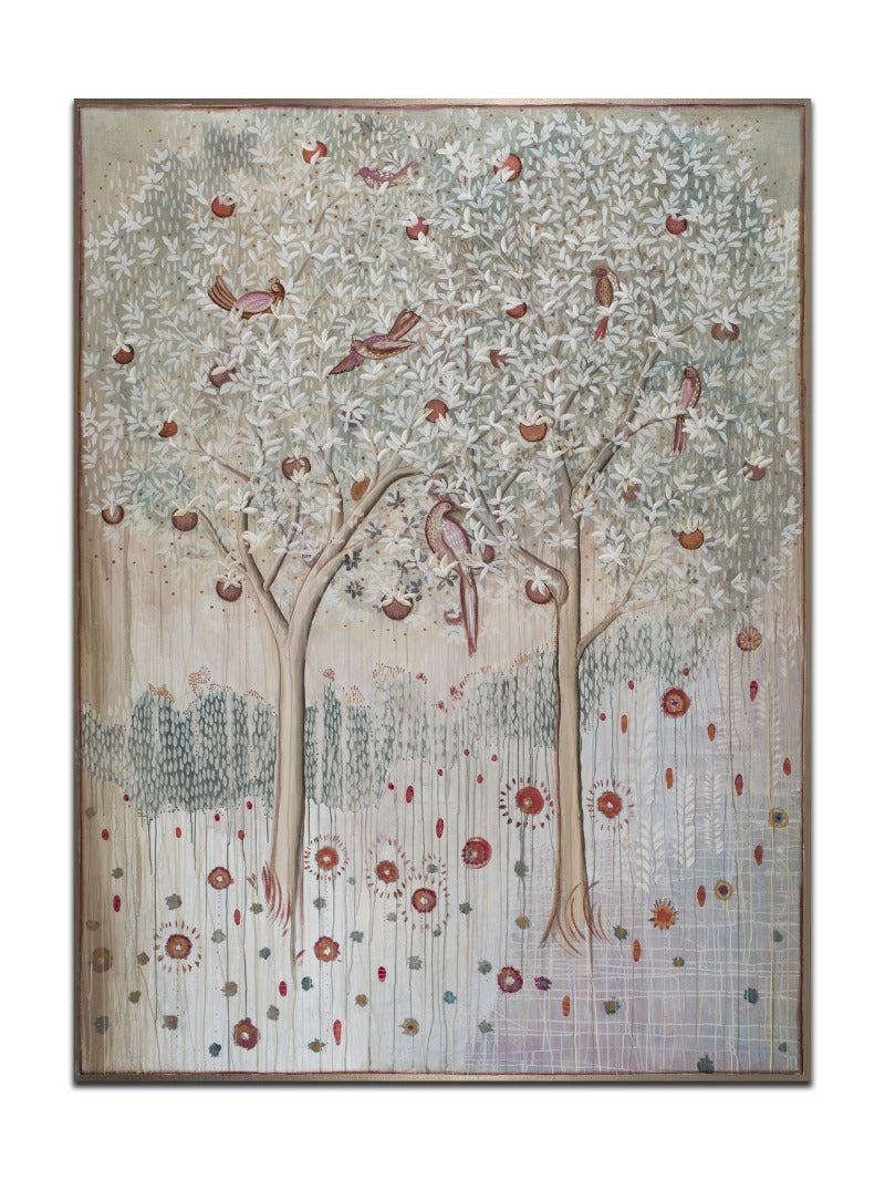 "Garden Song - 6' x 8' x 2 1/4"" MIXED MEDIA ON CANVAS WITH METALLIC GOLD EMBELLISHMENTS $17,000"