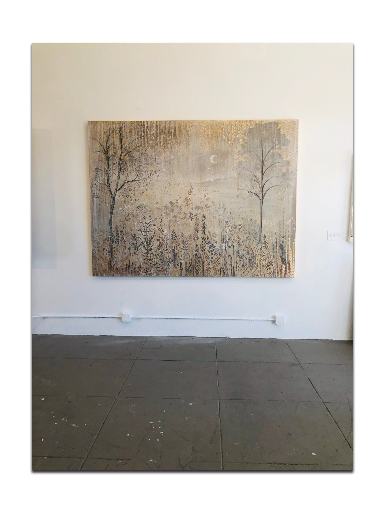 Reverie - 6' x 8' x 2 1/4 Mixed media on canvas with metallic gold embellishments $14,400