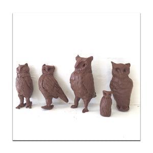 clay owls created for ornament on chandeliers and furniture inspired by giacometti