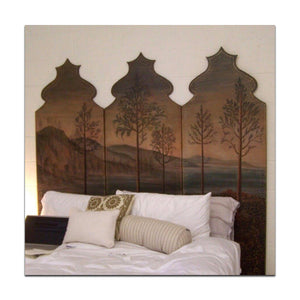 museum inspired painting on hand cut wood panel headboard