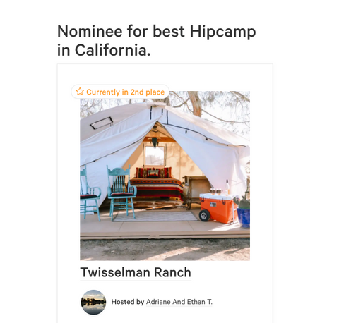 Nominee for Best Hipcamp in California Twisselman Ranch