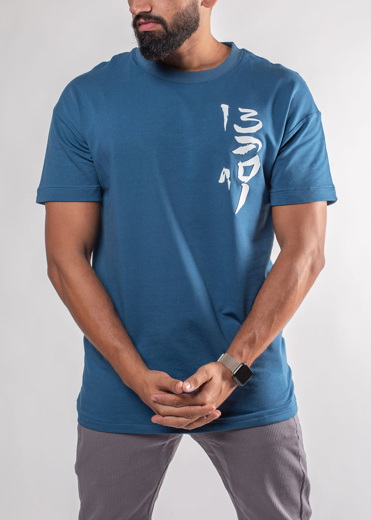 "Men's Oversized Salam ""Peace"" Blue Shirt"