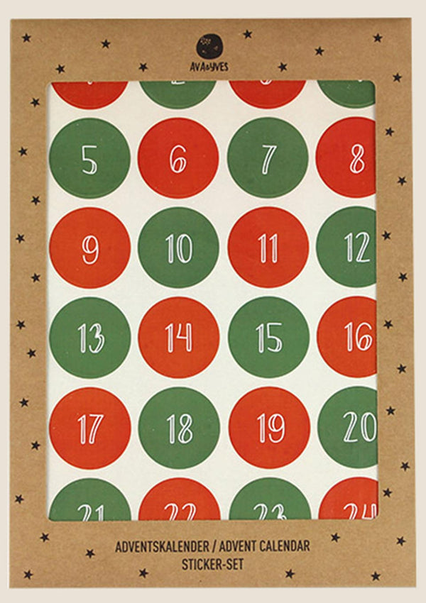 ava&yves Adventskalender-Sticker in rot/grün - tiny-boon.com