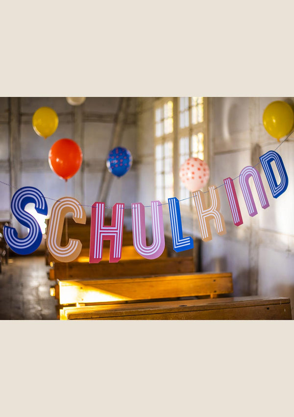 "ava&yves Girlande ""Schulkind"" gestreift - tiny-boon.com"