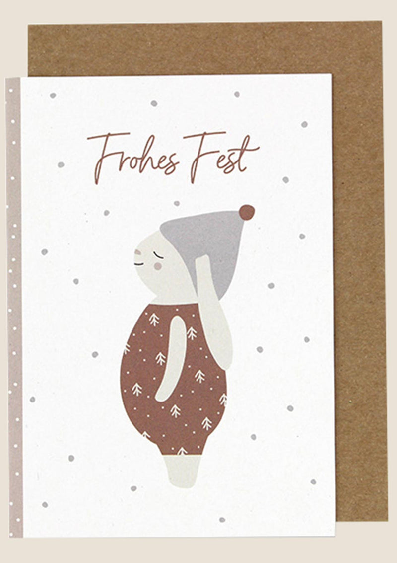 "ava&yves Klappkarte Schneehase ""Frohes Fest"" - tiny-boon.com"