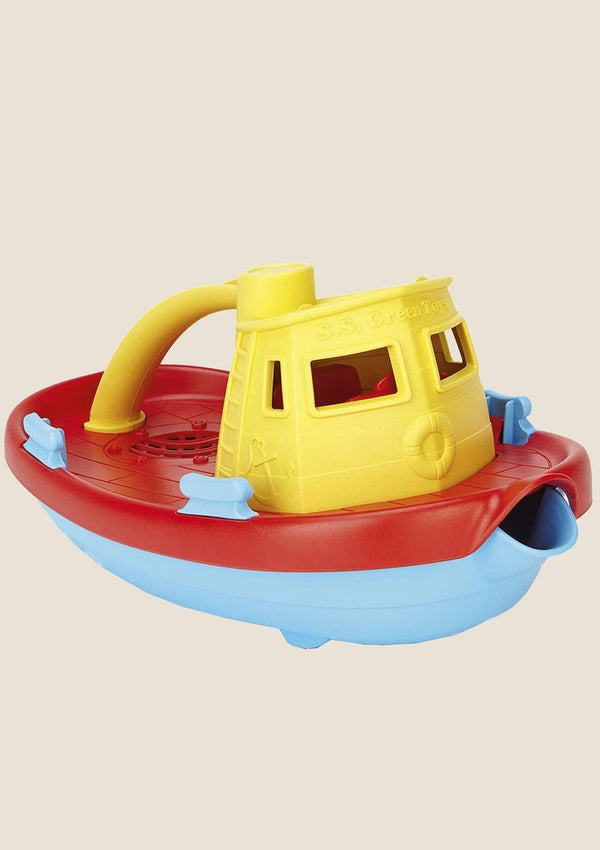 Green Toys Tugboat - Dampfschiff mit rotem Deck - tiny-boon.com