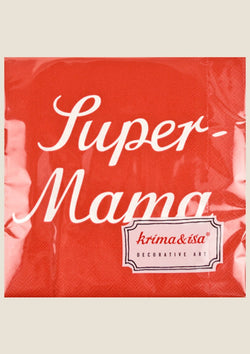 "krima & isa Servietten ""Super-Mama"" in rot - tiny-boon.com"