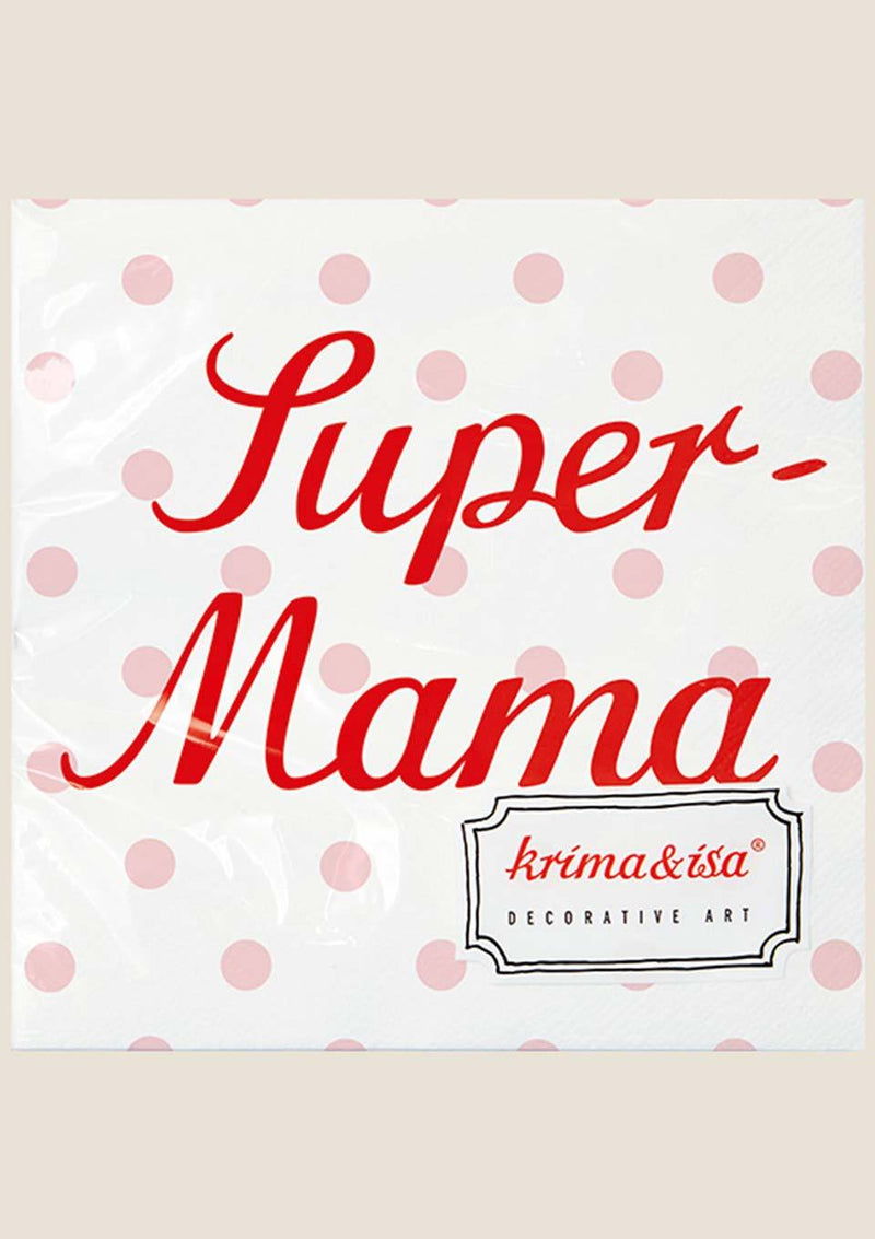 "krima & isa Servietten ""Super-Mama"" in weiß - tiny-boon.com"