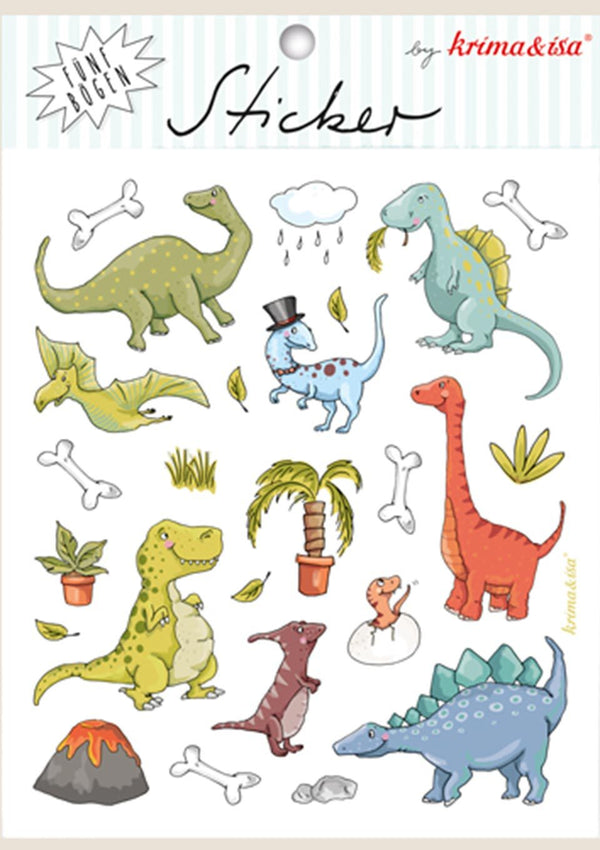 "krima & isa Sticker Bögen ""Dinos"" 5er Set - tiny-boon.com"