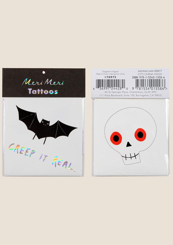 Meri Meri Bat and Skull Tattoos - tiny-boon.com