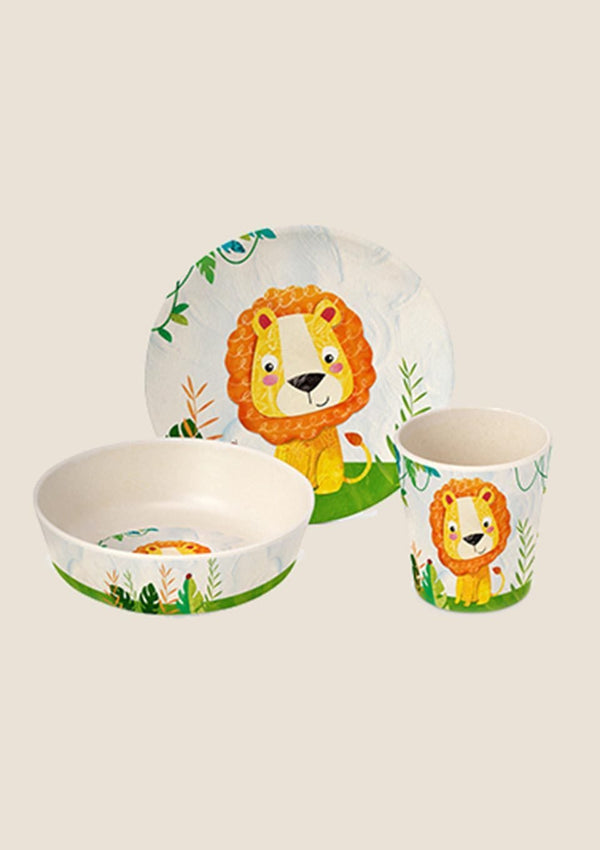 "Paperproducts Design Bambus Geschirr Set ""Happy Lion"" - tiny-boon.com"