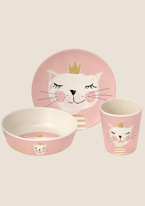 "Paperproducts Design Design Geschirr Bamboo ""Happy Cat"" 3er Set - tiny-boon.com"