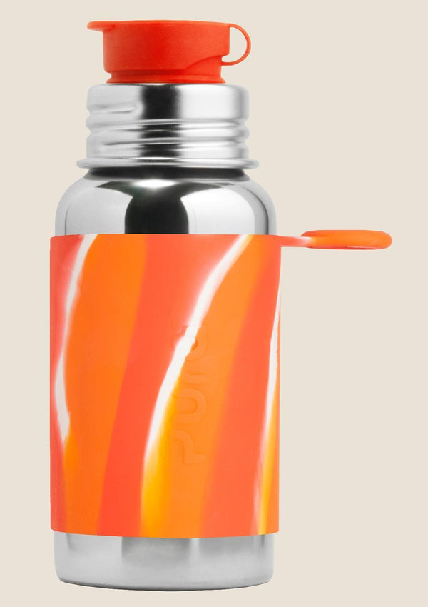 Pura kiki Edelstahl Sportflasche 500ml in orange-swirl - tiny-boon.com