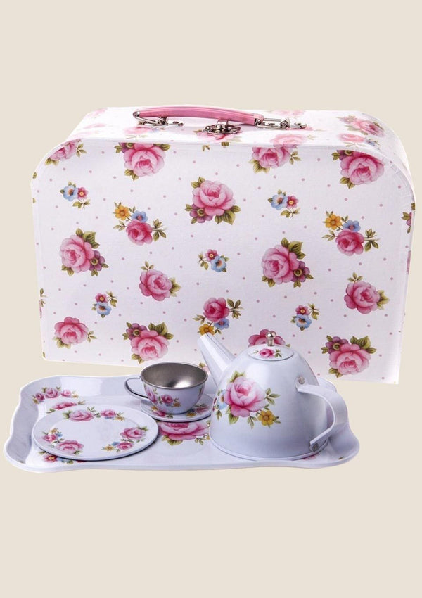 "Sass & Belle Picknickkoffer Teeservice Set ""Vintage white Rose"" - tiny-boon.com"