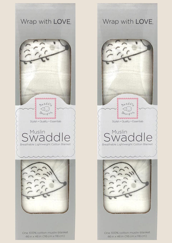 Swaddle Designs Pucktuch mit Igel in schwarz 2er Pack - tiny-boon.com