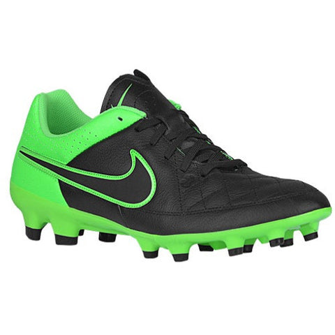 Size 10.5 - Nike Tiempo Genio Leather FG - Mens Football Boots - Black/Green Strike/Black Clearance