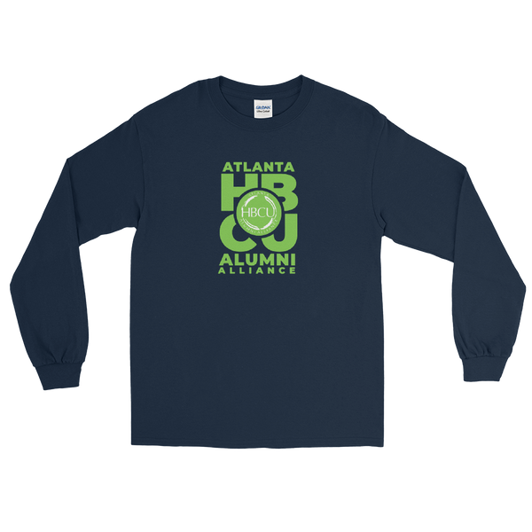 Green on Navy Men's Long Sleeve Shirt