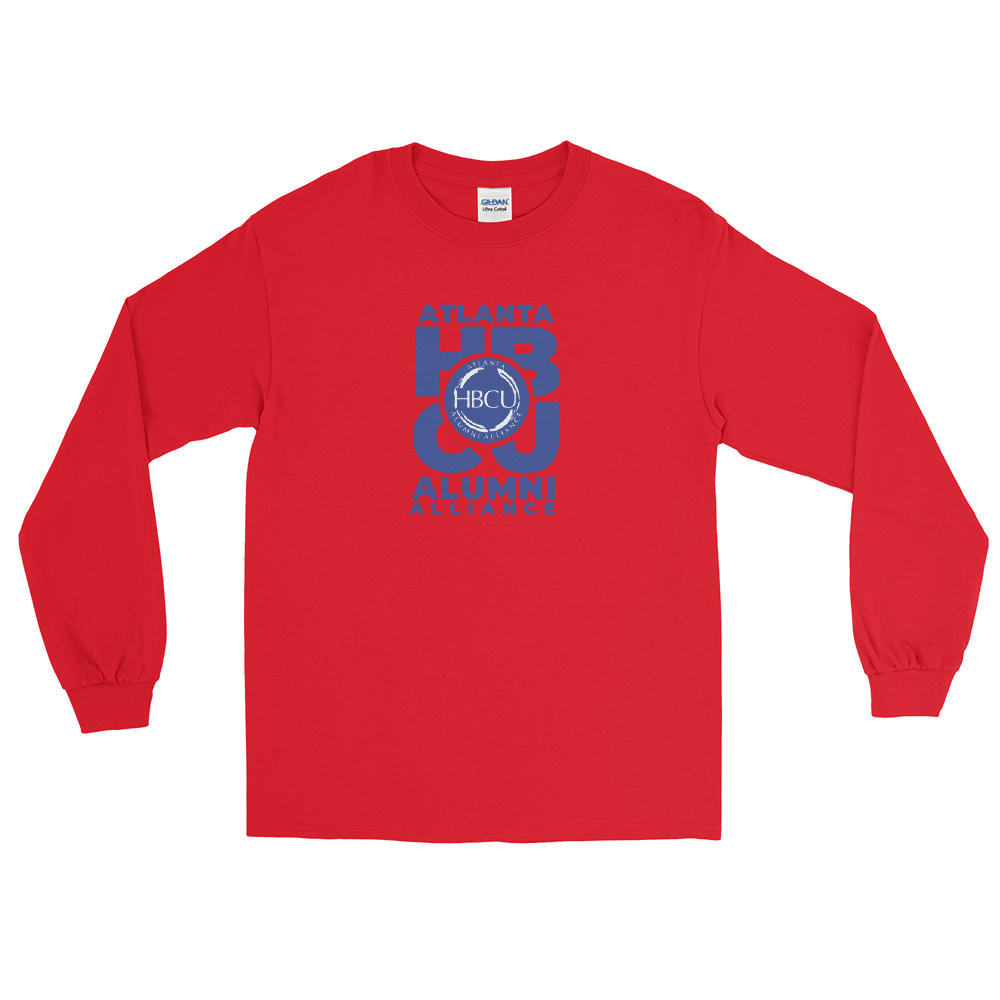 Blue on Red Men's Long Sleeve Shirt