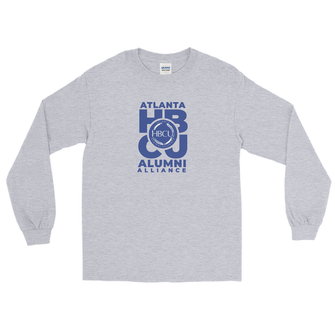 Blue on Grey Men's Long Sleeve Shirt
