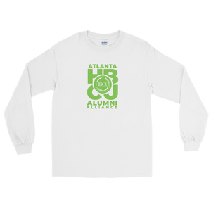 Green on White Men's Long Sleeve Shirt