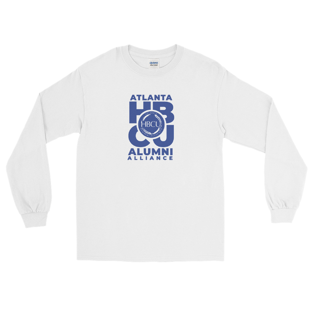 Blue on White Men's Long Sleeve Shirt
