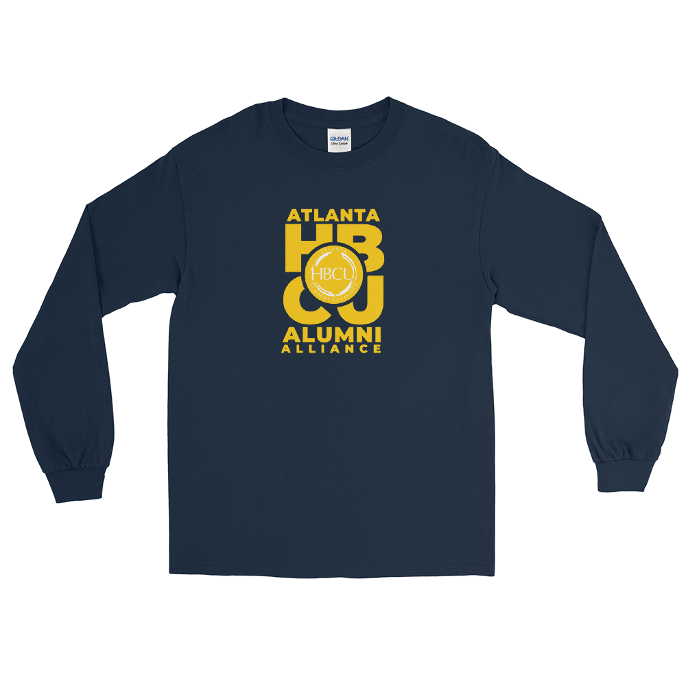 Yellow on Navy Men's Long Sleeve Shirt