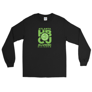 Green on Black Men's Long Sleeve Shirt