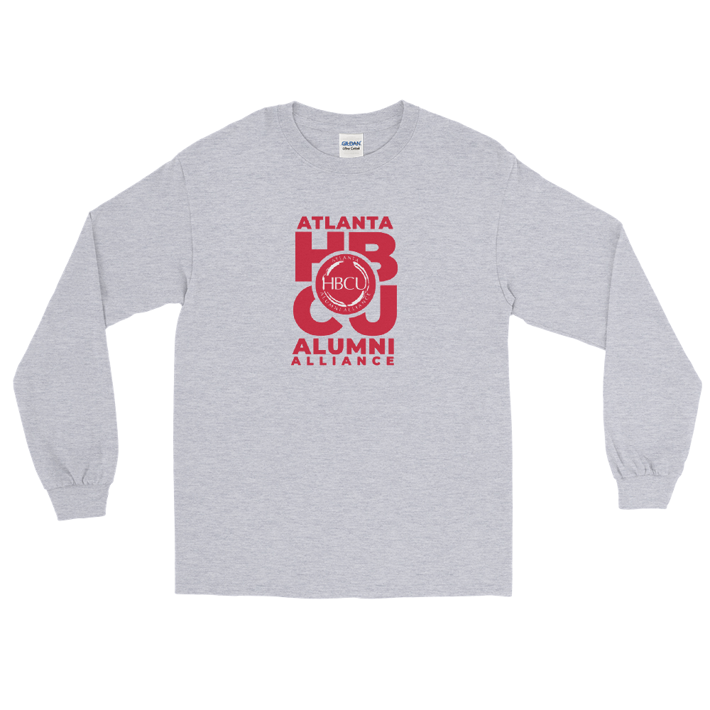 Red on Grey Men's Long Sleeve Shirt