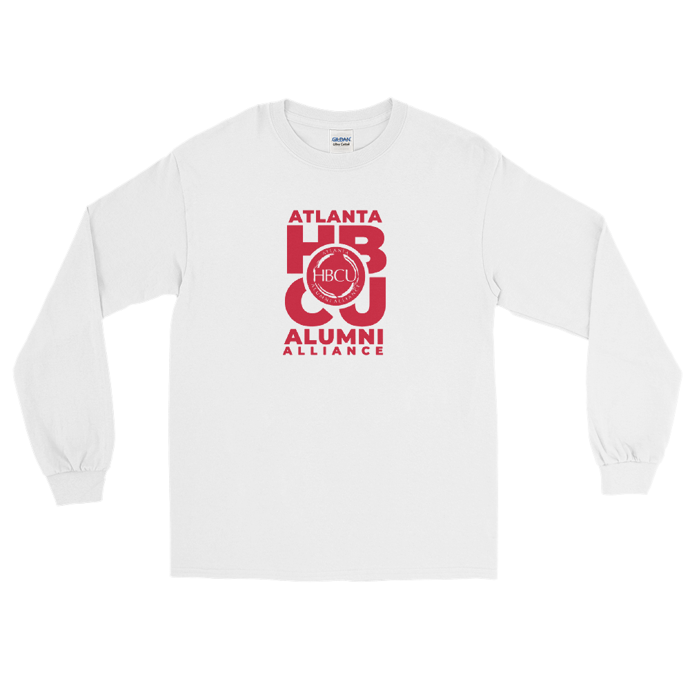 Red on White Men's Long Sleeve Shirt