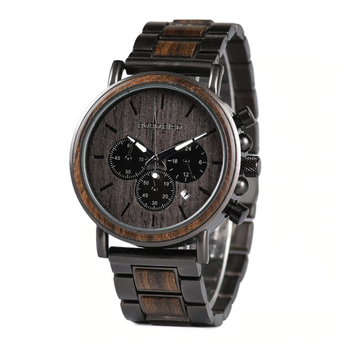 Men's Ebony wood & stainless steel watch (Handmade)