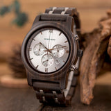 NI US-BOBO BIRD P19 Wooden Mens Quartz Watches Date Display Business Watch Ebony & Zebrawood Options Valentines Gift