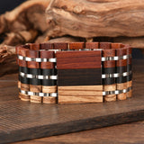 BOBO BIRD Wood Customized Bracelet Men Pulseira Wooden Bracelets for Women Luxury Brand Bangles Stainless Steel