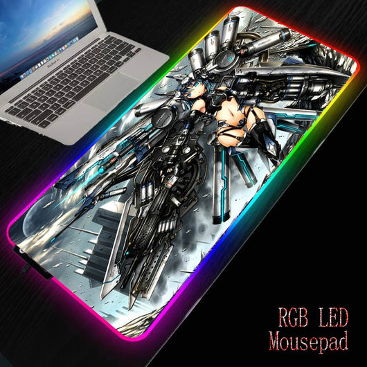 MRGBEST Anime Sexy Girl RGB Soft Large Gaming Mouse Pad Glowing Led Backlight Mousepad Rubber Base Computer Keyboard Pad Mat