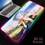 MRGBESTRGB Anime Girl Re Zero RGB Gaming Large Mouse Pad Soft LED Backlit Computer Mousepad for Gamer Office PC Desk Mat XXL