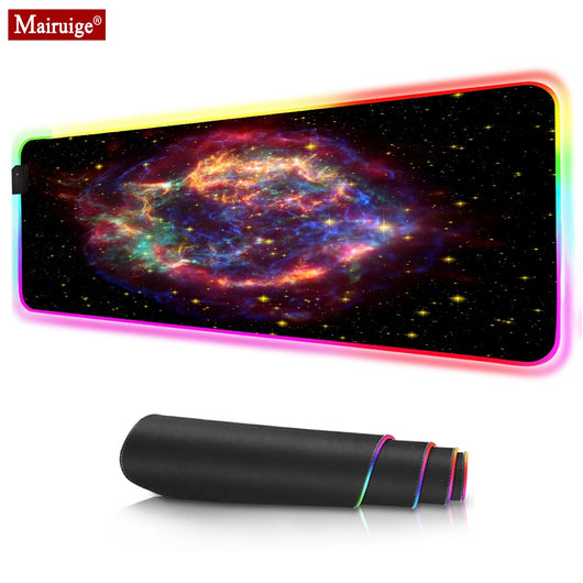 Large RGB Gaming Mouse Pad Fog Space Starfield Nebula Large Extended Soft Led MousePad Computer Mat 80x30cm  Best Game Custom