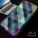 MRGBEST Triangle Texture  RGB Soft Large Gaming Mouse Pad Glowing Led Extended Mousepad Non-Slip Base Computer Keyboard Pad Mat