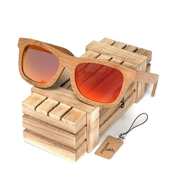 Natural wooden unisex polarized sunglasses