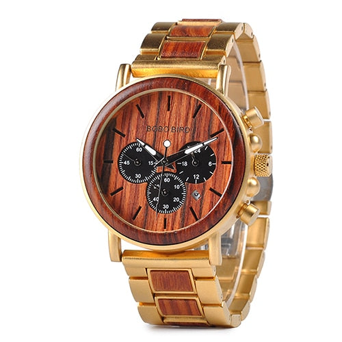 BOBO BIRD Business Men Watch Metal Wood Wristwatch Chronograph Date Display with Gift Box relogio masculino U-Q26